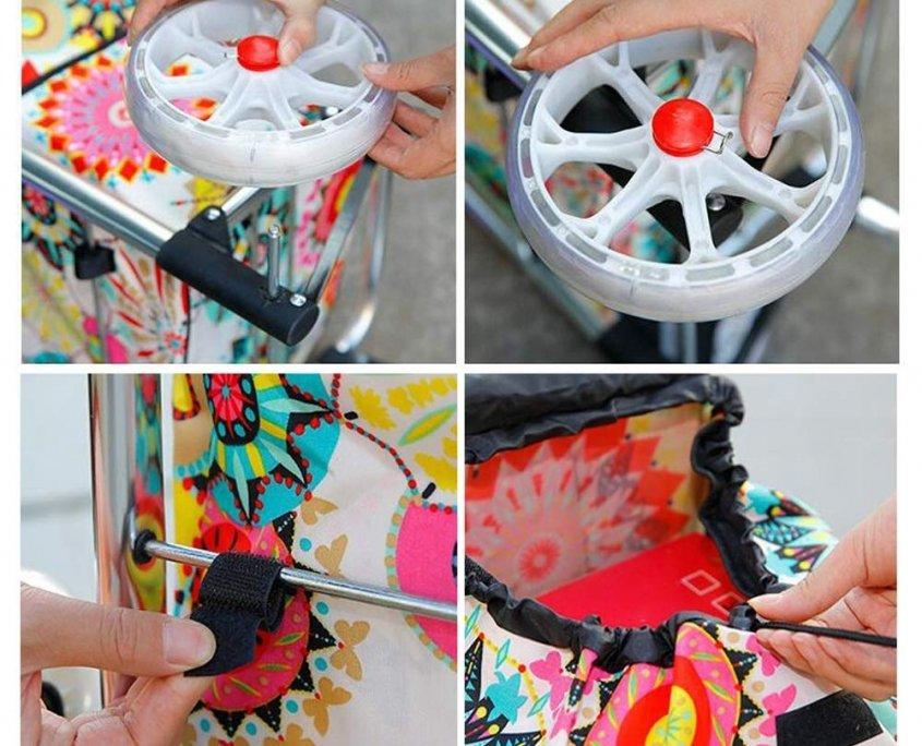Shopping Trolley Cart Bag Wheeled Rolling Utility Luggage